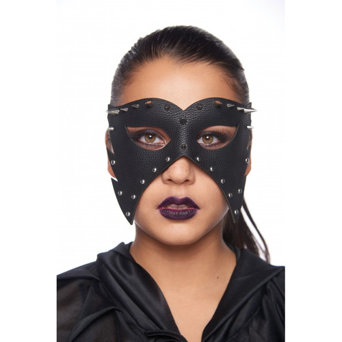 Faux Leather Black Executioner Masquerade Mask with Studs
