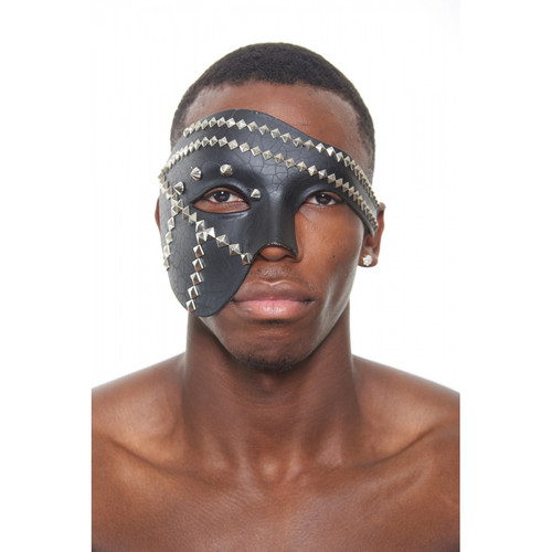 Black Steampunk Masquerade Mask with Studs