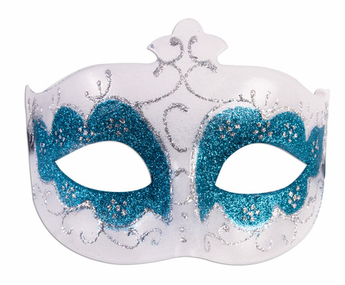 White Masquerade Mask with Blue and Silver Glitter
