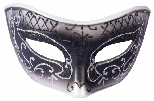 Black and Silver Glitter Masquerade Mask