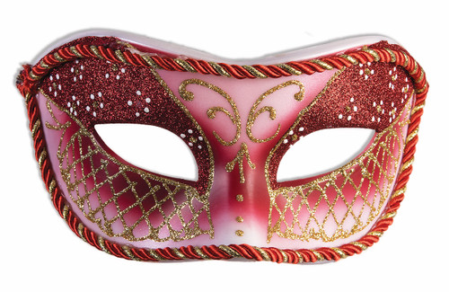 Red and Gold Fancy Glitter Masquerade Mask