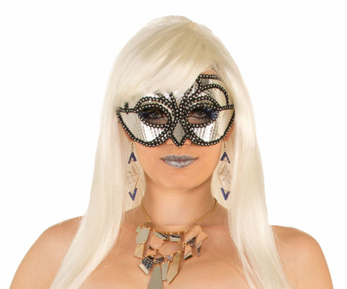 Silver Cyborg Masquerade Mask with Arms