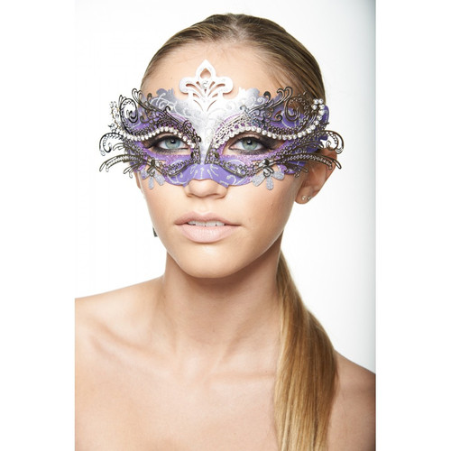Purple and Silver Laser-Cut Mask with  Clear Rhinestones
