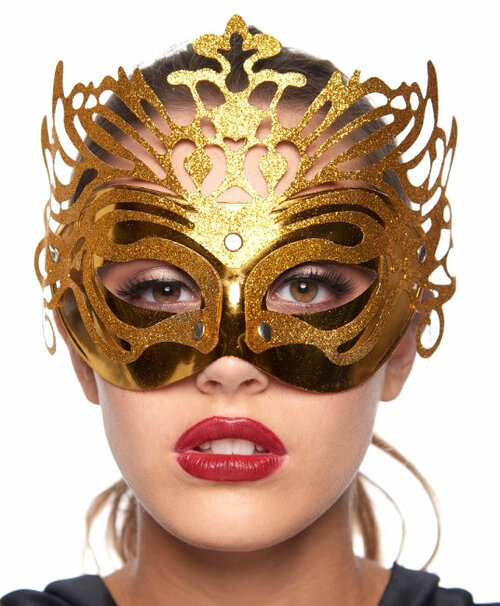 Carnival Costume Masquerade Mask with Glitter - 3 Colours