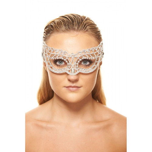 Premium Luxury Metal Mask with Clear Crystals