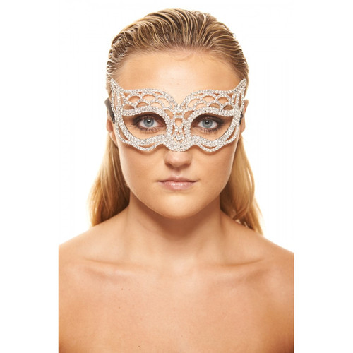Premium Luxury Metal Mask with Clear Crystals and Scalloped Design
