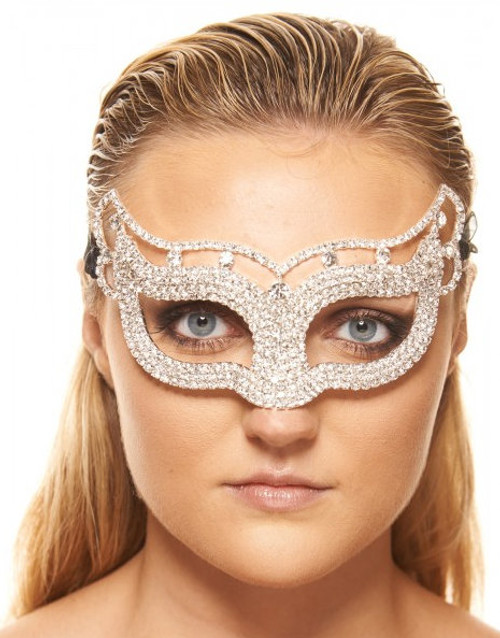 Premium Luxury Metal Mask with Clear Crystals and Elegant Design