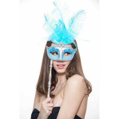 Hand-Held Feather Masquerade Mask with Glitter