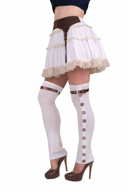 White Thigh-high Buckle Spats Steampunk