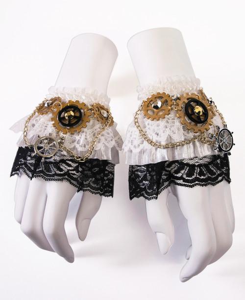 Steampunk Leatherlike Wrist Cuffs (BACK)