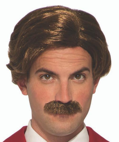 Burgandy Anchorman Wig/Moustache Set