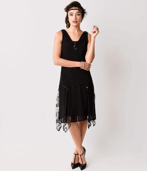 Vintage Black Sequin and Lace Flapper Dress