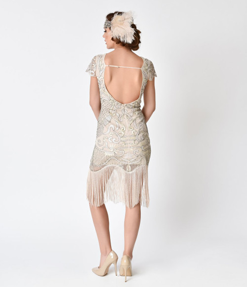 Vintage Ivory Fringe and Sequin Flapper Dress (BACK)