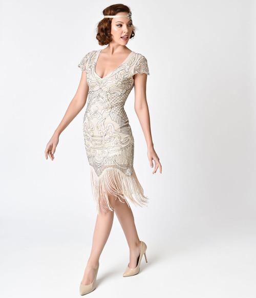 Vintage Ivory Fringe and Sequin Flapper Dress