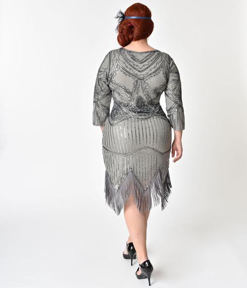 Vintage Silver Fringe & Sequin Flapper Dress - Plus Size (BACK)