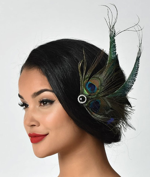 Vintage Peacock Feather and Veil Flapper Hair Clip