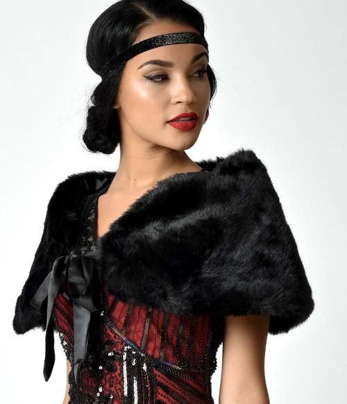 Vintage Elegant Flapper Faux Fur Shrug