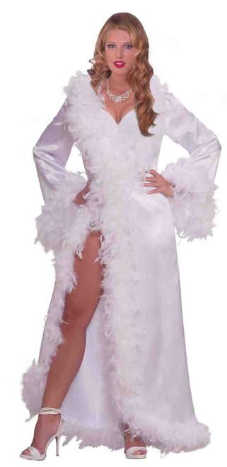 Hollywood Marabou White Satin Robe