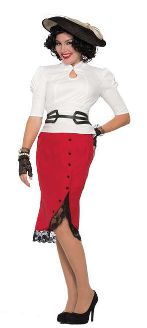 40s Red Pencil Skirt