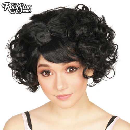 Rockstar Curly Bob Black Wig