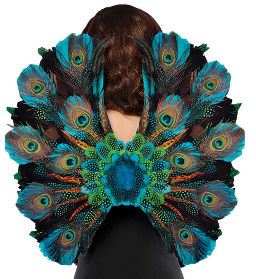 Royal Peacock Blue Feather Wings