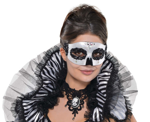 Black and White Venetian Skull Eye-Mask