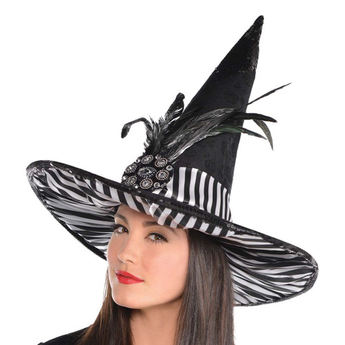 Black and White Feathered Couture Witch Hat