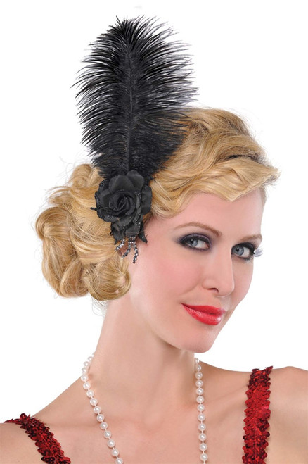 Roaring 20s Flapper Black Rose Feather Hairclip