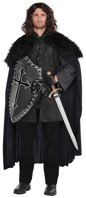 Medieval Night Watchman Black Fur Cloak