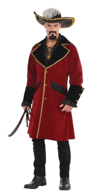 Red Elegant Velvet-Like Pirate Captain's Jacket