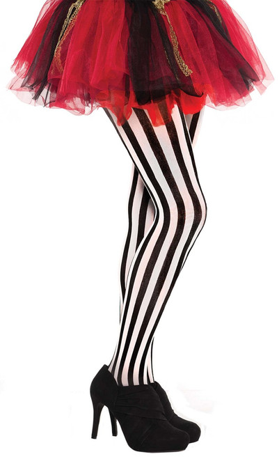 Ladies Black and White Vertical Striped Jester Tights