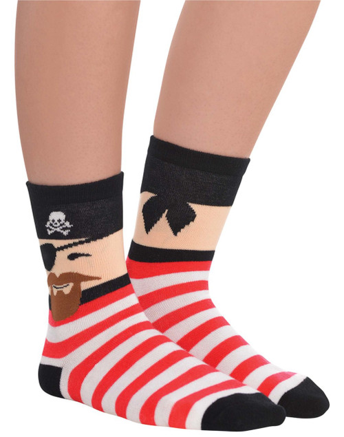 Red and White Striped Pirate Socks With Face