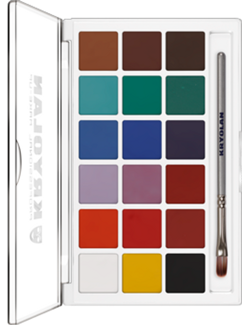Kryolan Professional Aquacolor 18 Basic Palette