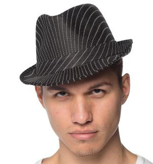 Black Fedora with White Pinstripe