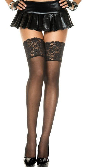 Sheer Wide Lace Stayups - Black