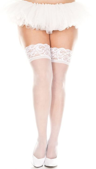 Queen Sheer Stay Ups - White