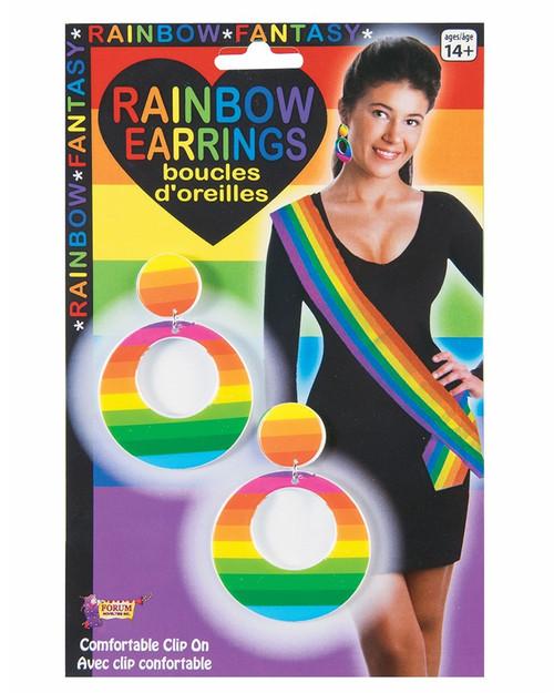 Rainbow Clip-On Hoop Earrings