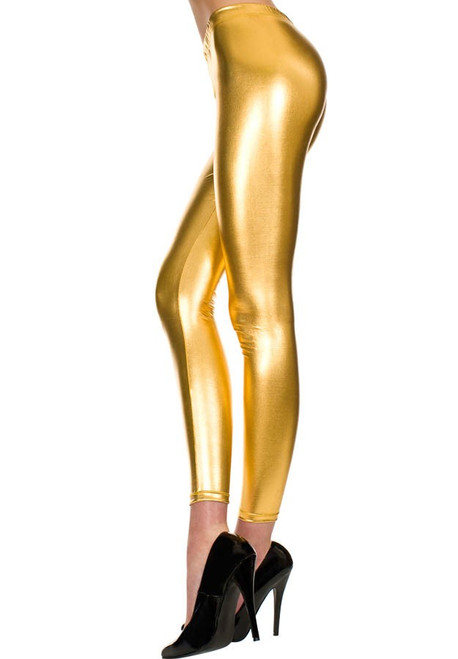 Retro Metallic Shiny Leggings - Gold