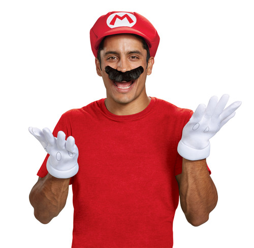 Adult Mario Accessory Kit With Hat Gloves and Mustache (ALT)