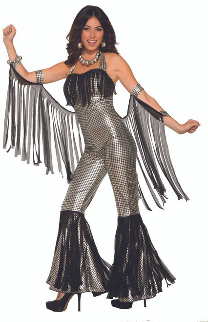 Womens Silver Disco Queen Jumpsuit Costume