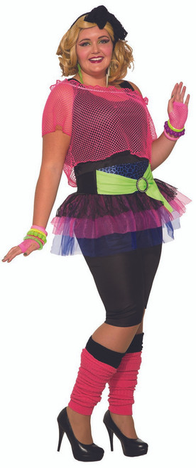 Womens Plus Size 80s Girl Costume
