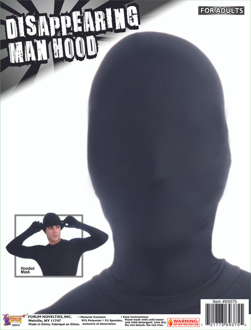 Black Disappearing Man Stage Hand Mask