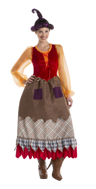 Women's Patchy Red And Brown Witch Costume