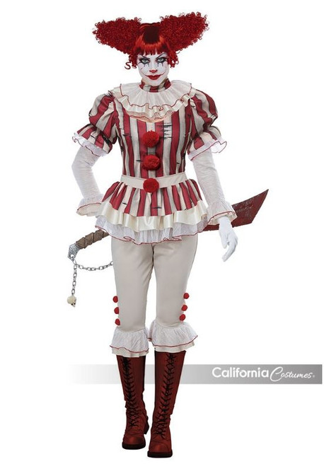 Womens Sadistic Horror Killer Clown Costume