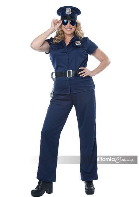 Womens Plus Size Police Officer Uniform Costume