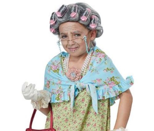 Child Old Lady Grandma Costume Kit