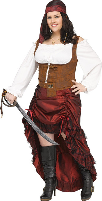 Womens Plus Size Elegant Pirate Queen Buccaneer Costume