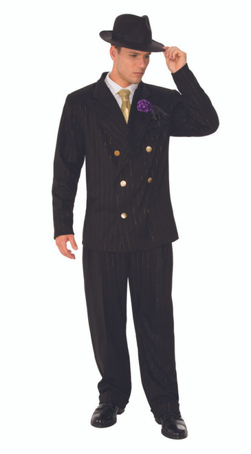 20s Gangster Sharp Black Suit Costume