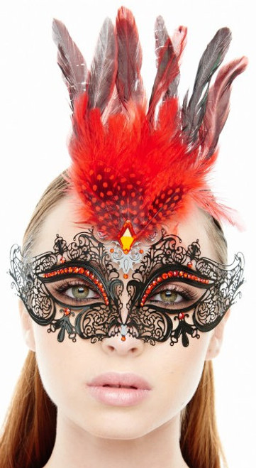 Feather Plum Laser-Cut Masquerade Mask - Red