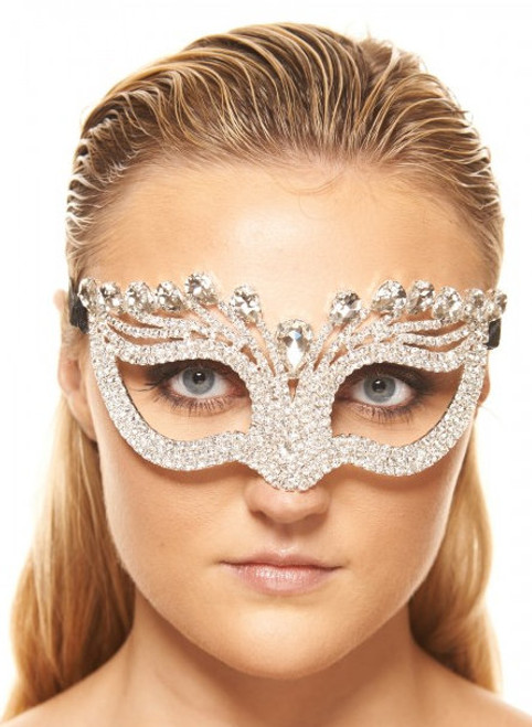 Teardrop Clear Crystal Masquerade Mask